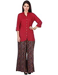 Vastra Vinod Maroon Cotton Shirt With Palazzo Pant