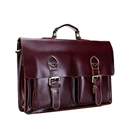 Crazy Ants Men's Genuine Leather Everyday Messenger Bag Briefcase WineRed