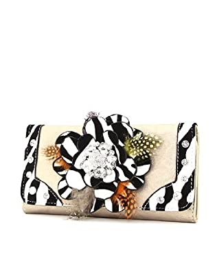 Bronze Zebra Pattern Raised Flower & Feather Rhinestone Wallet