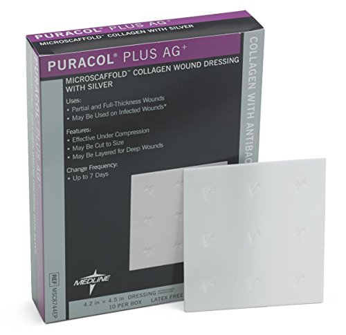 "Medline Msc8744Ep Puracol Plus Ag+ Collagen Dressings With Silver, 4X4"" (Case Of 50)"