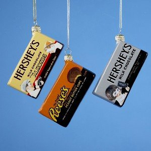HERSHEYS CANDY BAR ORNAMENTS – 4″ GLASS VINTAGE CANDY BAR SET OF 3 – Christmas Ornament