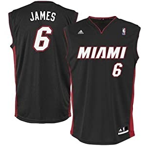 LeBron James Miami Heat #6 NBA Adidas Revolution 30 Youth Jersey Black (Youth Medium Size 10/12)