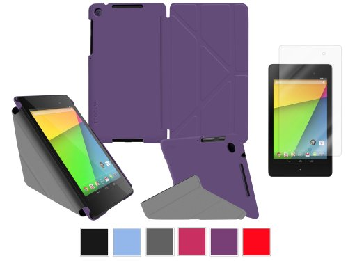 rooCASE Google Nexus 7 FHD Case – Slim Shell Origami Cover with Ultra HD Plus Anti-Fingerprint / Self-Healing / Bubble Free Screen Protector – PURPLE (With Auto Wake / Sleep Cover)