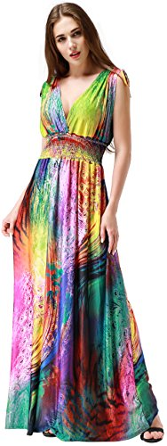 Wantdo Women's Print V-Neck Sexy Bohemian Maxi Dress for Cocktail (Colorful Maxi Dress compare prices)