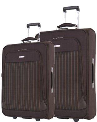 Reisetrolley Koffer braun Weichgepäck Set 3-tlg