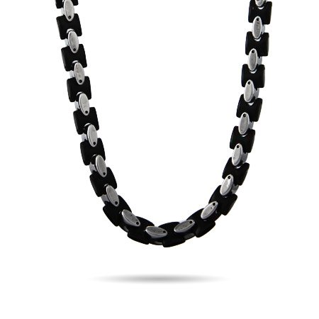 Mens Steel and Black Heavy Oval Linked Chain