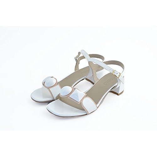 Scarpe sandali donna Jeannot numero 37 53091BIANCO in vernice biancha white paint woman shoes tacco basso