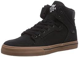 Supra Kids Unisex Vaider (Little Kid/Big Kid) Black/Gum Canvas Sneaker 5.5 Big Kid M
