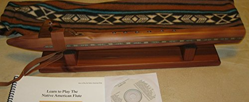 Native American Flute - Low D - Cedar - Hand Made- With Flute Stand, Travel Bag, Book and Cd