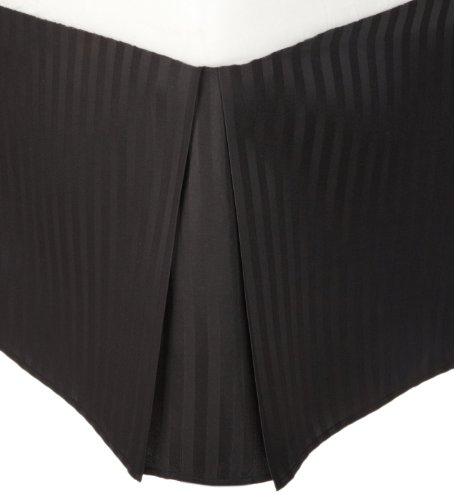 300tc Cotton Stripes Pleated Tailored Bed Skirt with 15 Inches Drop and Split Corners By Sheetsnthings (Queen, Black) (Split Corner compare prices)