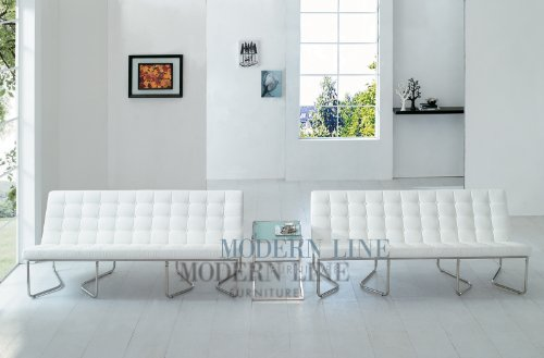 Cheap Modern Two White Leather Sofas and End Table (SunriseW2s-CT56)