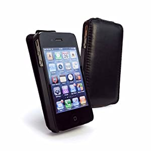 Tuff-Luv Tuff-Grip Leather (antenna assist) case cover V2 for Apple iPhone 4G / 4 / 4S - Flip style - Black