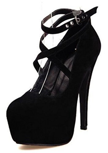 DADAWEN Sexy Fashion Platform Pumps Strappy Buckle Stiletto High Heels Shoes