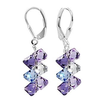 SCER009 Sterling Silver Lavender Blue and Clear Crystal Earrings Made with Swarovski Elements