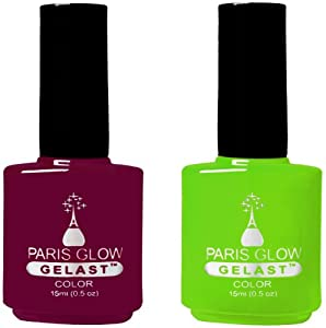 GELAST Gel Nail Polish - Red Carpet & Glowstick (Summer Colours) Big Bottles 0.5oz/each