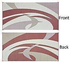 Reversible Mats 159185 Burgundy/Brown 9\'x18\' Swirl Pattern Mat