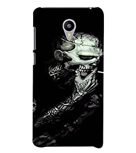 PrintVisa Cool Skeleton Smoke Design 3D Hard Polycarbonate Designer Back Case Cover for YU Yunicorn