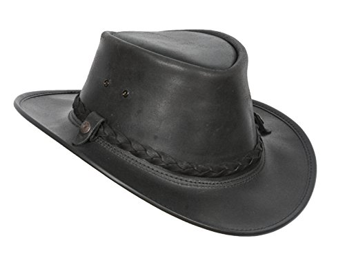 Mens Real Leather Bush Australian Cowboy Hats Black Brown (M, Black) (Bush Hat Leather compare prices)