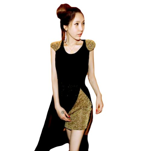 LOCOMO Gold Glitter Mini Dress Black Mesh Sheer Sleeveless Maxi S-M FFD040