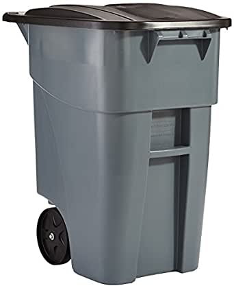 Rubbermaid Commercial Brute Rollout Container, Square, Plastic, 50 Gallons, Gray (9W27GY)