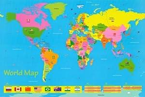 World Map For Kids Art Maxi Poster Print 61x91 cm Kitchen