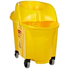 "Rubbermaid FG759088 WaveBrake Institutional Combo Mopping System, 35 qt Capacity, 18.6"" Length x 15.9"" Width x 24.7"" Height, Yellow"