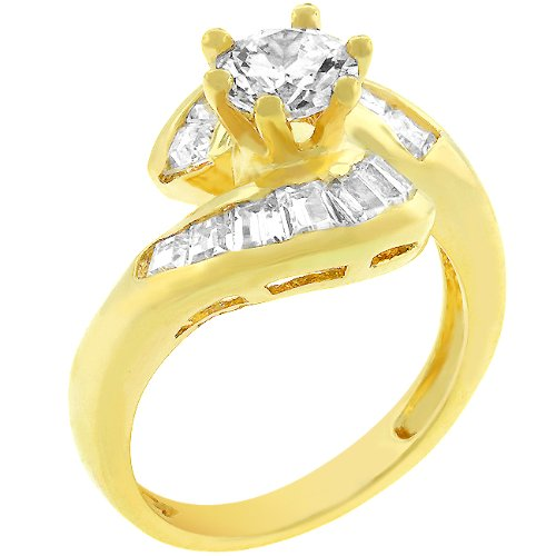 14k Yellow Gold Plated CZ 4 CT Anniversary Ring Size 8