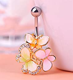 Blucoo Lovely Enamel Diamond Butterfly Belly Button Piercing Navel Ring (Yellow)