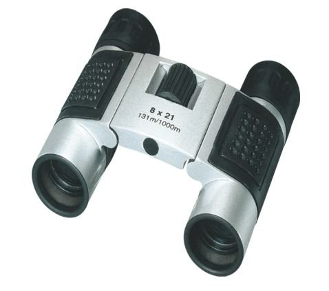 GSI Super Quality 8x21 Compact Folding Roof Prism Binoculars - Silver - Case and Cleaning Cloth Included - For Sports, Concerts, Surveillance, Travel Etc.