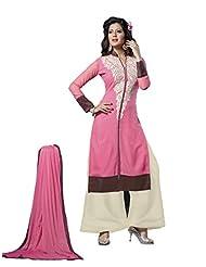 Trendz Apparels Pink 60 Gm Georgette Straight Cut Salwar Suit