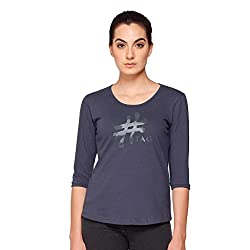Hash-Tag-Women's-T-Shirt-Round-Neck-3/4th-Sleeve-Dark-Shaded-Blue
