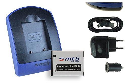 Akku + Ladegerät (USB, KFZ, Netz) für Nikon EN-EL10 / Coolpix S60 S80 S200 S202 S203 S205 S210 s. Liste