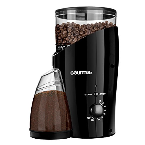 Gourmia GCG185 Electric Burr Coffee Grinder, Heavy Duty  Steel Grinding Disc  20 Coarse / Fine Settings, 2-18 Cups