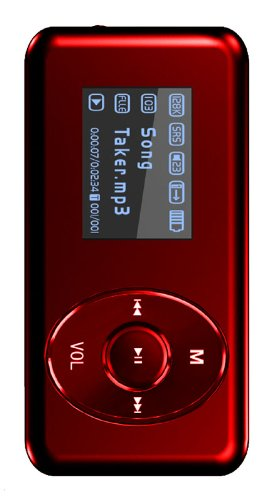 Visual Land V-Clip Pro 4GB MP3 Player with Speaker (Red)