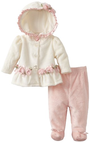 Vitamins Baby-girls Newborn 2 Piece Rosette Footed Pant Set, Ivory, 3 Months