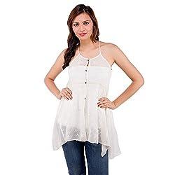 Centiaro Women's Casual Wear Beige Silk & Georgette Top