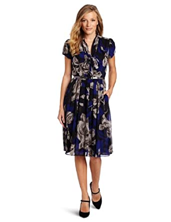 Jones New York Women's Chiffon Tie Neck Zip Front Chemise Dress, Black/Blue Eyes, 4