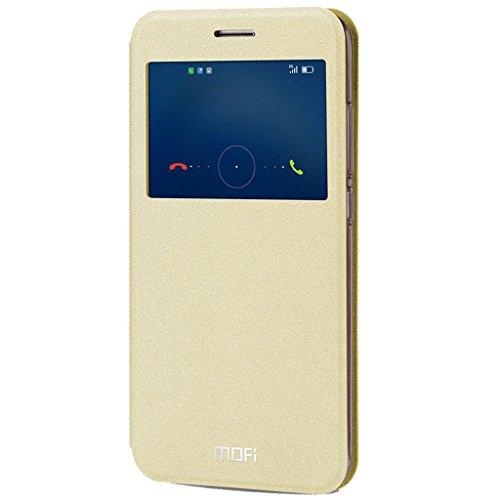 KaiTelin Huawei Nova Plus Custodia - Chiusura Magnetica Pelle Shield Custodia Finestre Case per Huawei Nova Plus - Oro