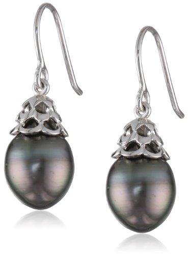 9-9.5mm Black Tahitian Cultured Pearl fish hook Silver Earrings