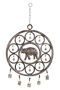 Plutus Brands Metal Wind Chime with an Elephant Themed Design