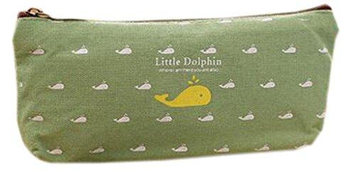 EOZY-Borsa di Matita di Tela Borsa Vintage Astuccio Porta Matite Borsa Cosmetici Verde con Delfino
