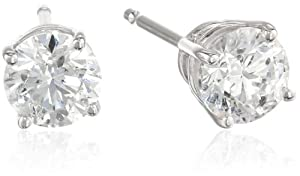 14k White Gold Round Diamond Stud Earrings (1.00 cttw, G-H Color, SI2 Clarity) by Max Mark Inc.