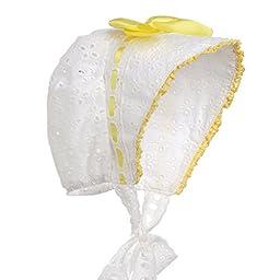Hanakimi® Lace Royal Sun Hat Handmade (Newborn - 3 Years) (M/12M, Yellow)