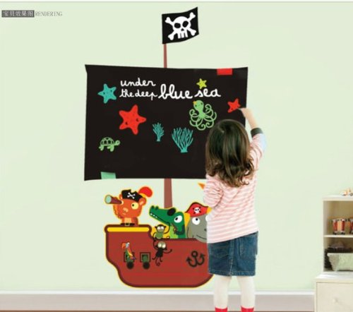 Home Decor Decals Poster House Wall Stickers Quotes Removable Vinyl Large Wall Sticker For Kids Rooms Stickers Blackboard Pirate Captain W-183 front-548889