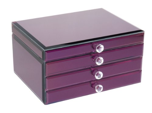 Boutique Lucy Purple Glass Jewellery Box With Crystal Puller