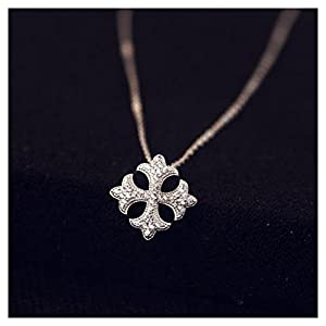 Fine Jewellry Women Silver Necklace 925 Sterling With Gemstones Cross Pendant Gem Color:Clear