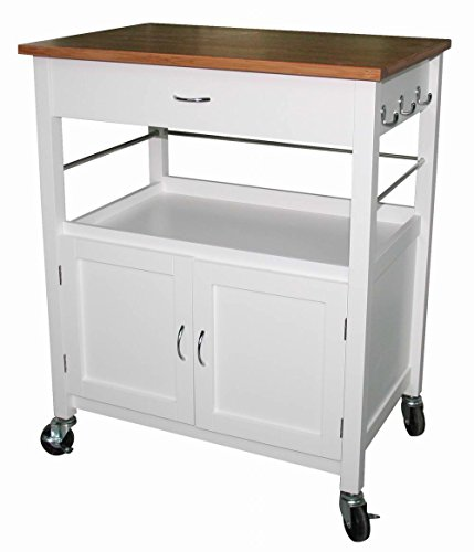 eHemco Kitchen Island Cart Natural Butcher Block Bamboo Top with White Base (Bamboo Kitchen Carts And Islands compare prices)