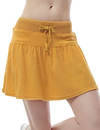 Doublju Flare Mini Skirt with Comfy Waist Band YELLOW (US-XL)
