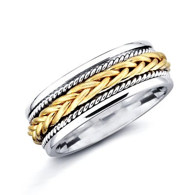 14k Yellow and White Two 2 Tone Gold Womens Mens Braided Rope Design Wedding Ring Band 7MM Size 12