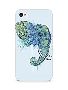 Amez designer printed 3d premium high quality back case cover for Apple iPhone 4 (Elephant art illust drawing animal)